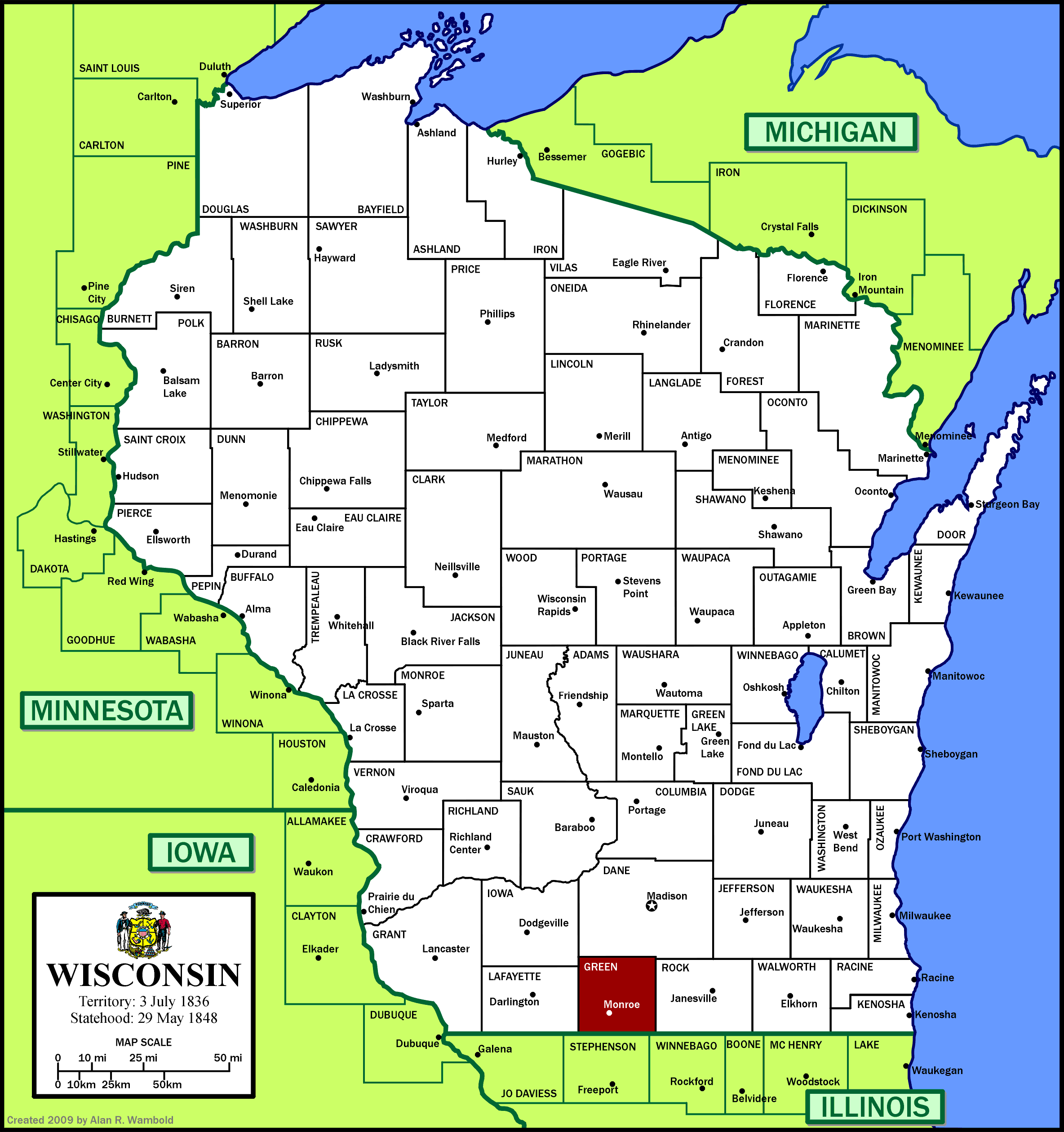 Lis202sec308 licensed for non commercial use only green county wi left where green county is located in wisconsin right a map of green county xflitez Image collections